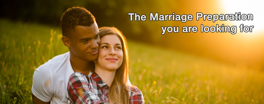 "Smiling Couple in love with the text ""The Marriage Preparation you are looking for."""